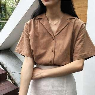 (INSTOCKS) Brown V Neck Button Down Top