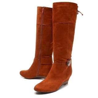 【全新未穿過】冬季布面高跟女長靴