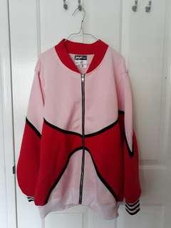 Pastel Pink and Red Oversized Bomber Jacket