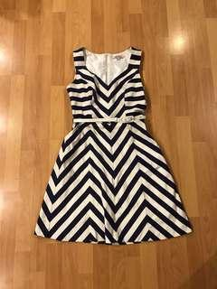Review Navy and white stripe dress