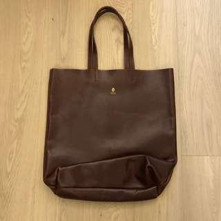 文青真皮牛皮tote bag 95% new