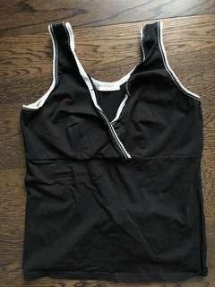 Black with white lace nursing bra
