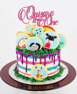 Customisable Pop Pink Glitter Cake Topper