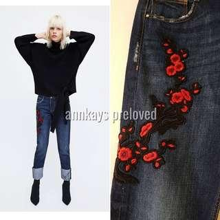 Zara  Embroidered Jeans NEW