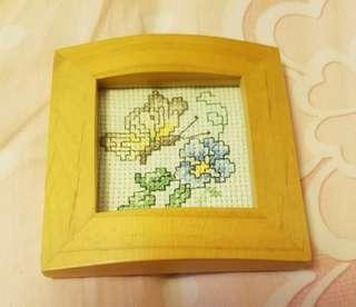 蝶與花刺繡相架 embroidered photo frame
