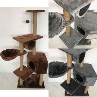 cat condo tree scratch post toy play side hammock cushion bed