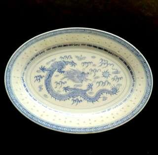 """12"""" Oval Dragon Plate (a minor chip)"""