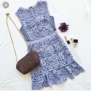 🆕Side hollow laze lavender a-line dress