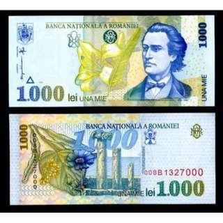 ROMANIA 1000 LEI 1998 P 106 UNC