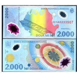 ROMANIA 2000 LEI 1999 POLYMER  P 111 UNC