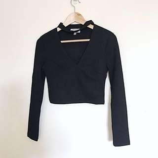 [DISH BOUTIQUES] BLACK CROP CHOKER NECK TOP