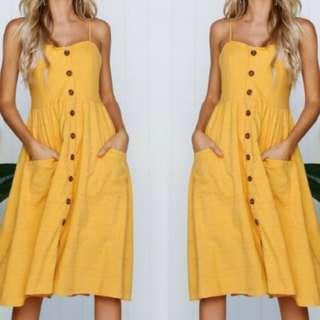 Mustard Yellow Midi Button Dress