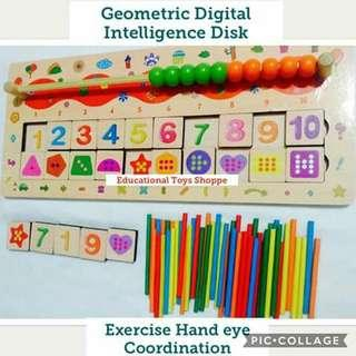 Geometric Intelligence Disk with Abacus and Counting Sticks