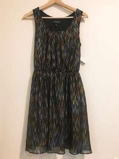 BNWT Black Dress with gold and silver stripes
