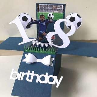Happy 18 birthday Pop Up Card football theme