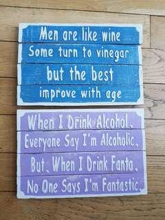 SET OF 2 Woodboard funny quotes