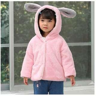 Girls Winter Jacket Pink / Cold Wear - Rabbit Ears