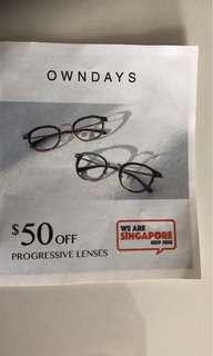 Owndays $50 off Progressive Lenses at $9