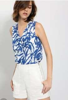 Saturday Club Tie-front Top in Tropical Print