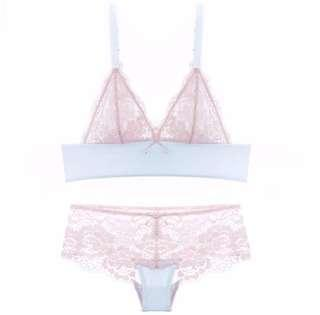 bcc6c33bb CINOON Sexy lace patchwork bra set broad-brimmed pink and blue lingerie set  Wireless Underwear
