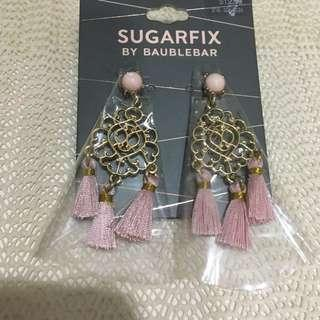 Sugarfix by Bauble Bar pink gold tassel statement earrings