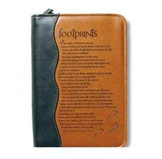~IN STOCK~ Italian Duo-Tone Footprints Medium-Size Book / Bible Cover by Zondervan ~ Tan / Black (ZIP COVER ONLY, BIBLE NOT INCLUDED)