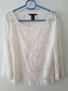 Forever 21 White Long Sleeve Lace Top