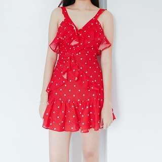 [BNWT] Red Frilly Ruffled Summer Dress with White Polkadots