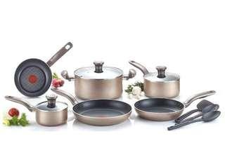 🚚 (BNIB)T-fal Metallics Nonstick Thermo-Spot Heat Indicator Cookware Set, 12-Piece