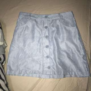 baby blue button up skirt