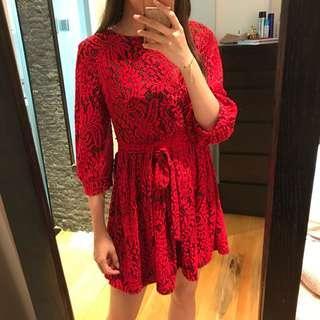 Korea red lace dress