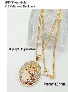 18K Saudi Gold Necklace with Religious Pendant