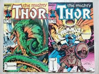 Marvel comics The Mighty Thor #341 and #342