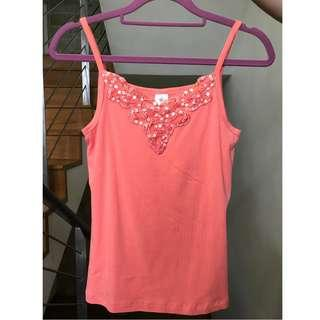 Coral Pink Sequinned Singlet