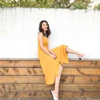 korean yellow maxi dress