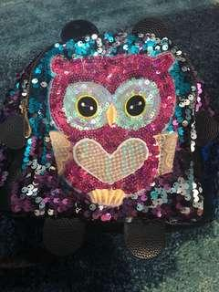 Owl sequin backpack