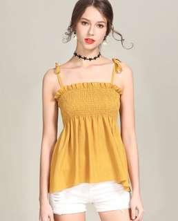 mustard yellow sweet camisole top adjustable strap