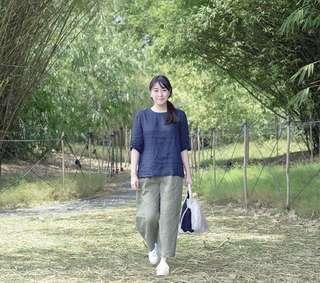 Muji linen cropped pant