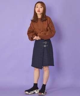 💌包順豐💌w closet格紋不規則半裙2色