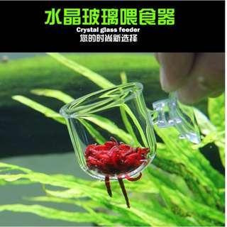 Blood Worm Glass Feeding Container for Aquarium Fish Tank