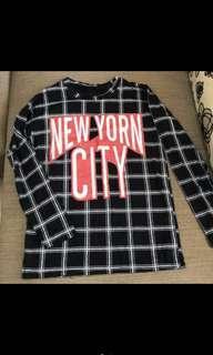 NEW YORN黑色方格子長袖薄上衣