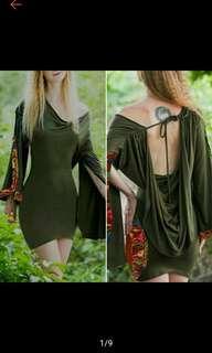 Women Vintage Medieval Style Long Sleeve Backless Bodycon Short Mini Dress