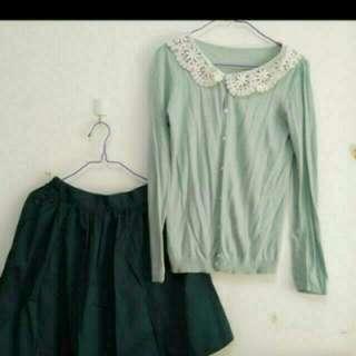 日牌earth粉綠色蕾絲領針織小外套