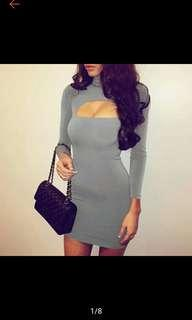 Fashion Women's Sexy Long Sleeve Hollow Out Bodycon Dress Club Party