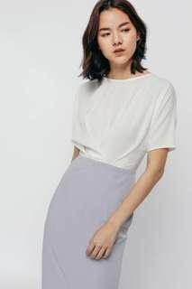 🚚 LB Calindha Contrast Pleated Midi Dress