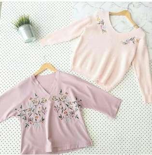 Embroidery Flower Korean Top (pink)