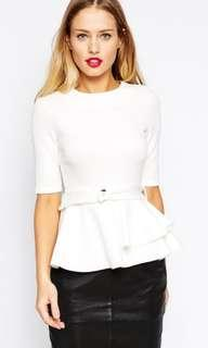 Asos thick white belted peplum top