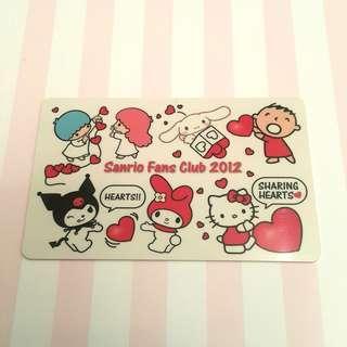 ♬包郵♬ Sanrio Fans Club membership card 2012 會員證 會員卡 已絕版 極具珍藏價值