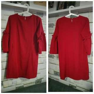 Midi Dress Merah Cerah