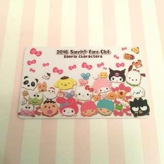 ♬包郵♬ Sanrio Fans Club membership card 2016 會員證 會員卡 已絕版 極具珍藏價值